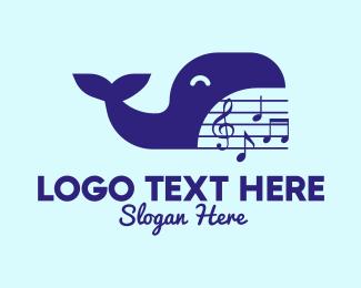 G Clef - Blue Whale Musical logo design