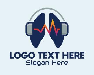Listen - Respiratory Lung Headphones logo design