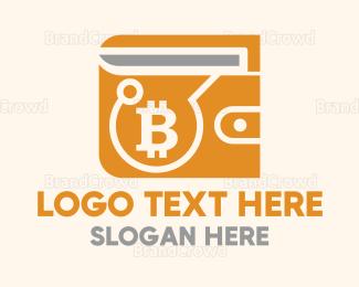Blockchain - Bitcoin Crypto Wallet logo design