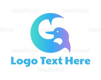 Swimmer - Blue Dolphin G logo design