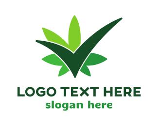 Weed - Green Cannabis Check logo design