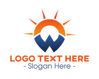 Geolocator - Sunset Letter W logo design