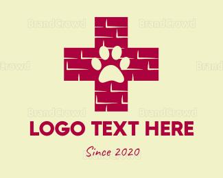 Brick - Dog Paw  logo design