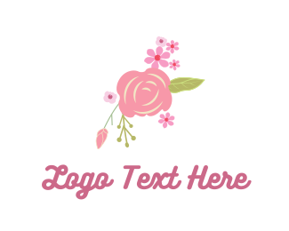 Feminine - Pink Rose & Flowers logo design