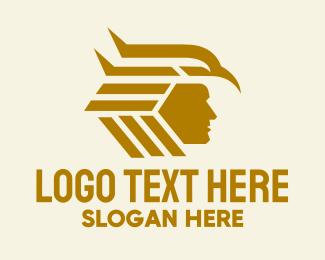 Indigenous - Gold Eagle Headdress  logo design