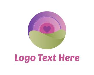 Purple Circle - Heart & Circle logo design