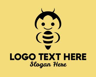 Bee Sting - Happy Bee  logo design