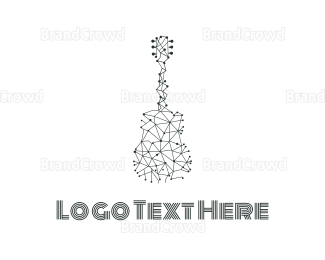 Rock Band - Wire Guitar logo design