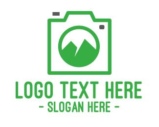 Instagram - Camera Outline Mountain logo design