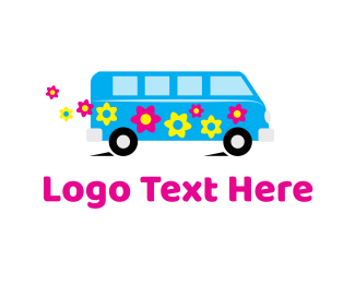 Bus - Hippie Van logo design