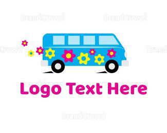 School Bus - Hippie Van logo design