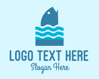 Marine Biology - Blue Fish Ocean Waves logo design
