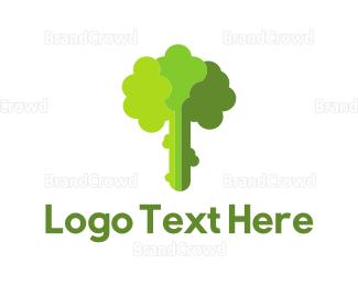 Botanical - Green Broccoli logo design