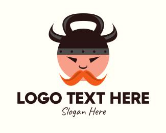 Viking - Viking Kettlebell Man logo design