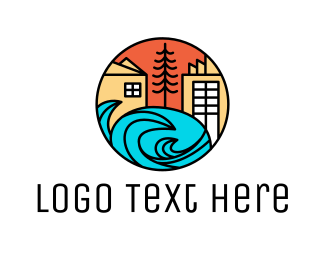 Venice Beach - Modern Wave City logo design
