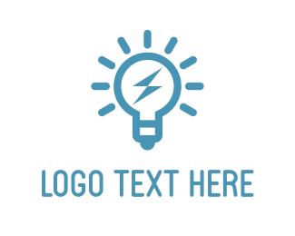 Thunderbolt - Blue Bulb logo design