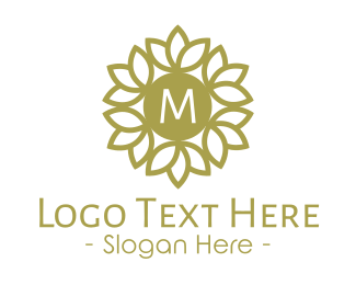 Golden Stroke Wreath Lettermark Logo