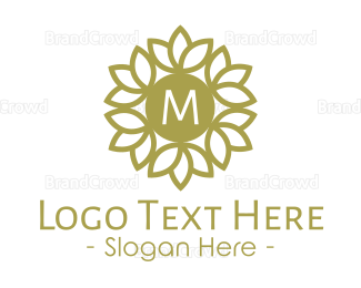 Gardening - Golden Stroke Wreath Lettermark logo design