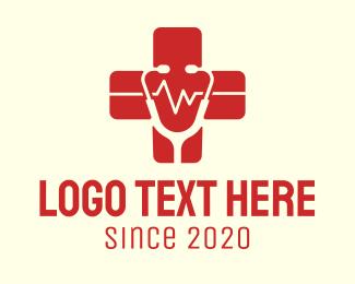 Heart Pulse - Medical Doctor Stethoscope Red Cross logo design