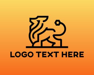 Sphinx - Modern Lion Outline logo design