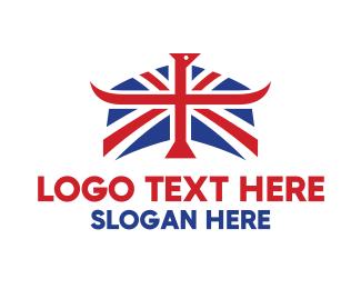Sovereign - Union Flag Horns logo design