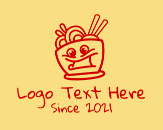 Chinese Food - Happy Noodle Bowl logo design