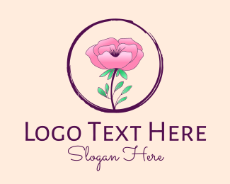 Flower Store - Pink Flower logo design