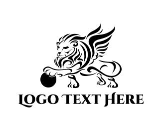 Winged - Winged Lion logo design