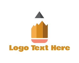 School - Pencil Peaks logo design