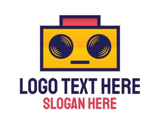 Techno - DJ Robot Boombox logo design