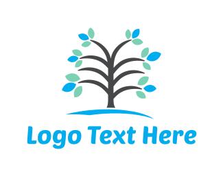 Spring - Blue Tree logo design
