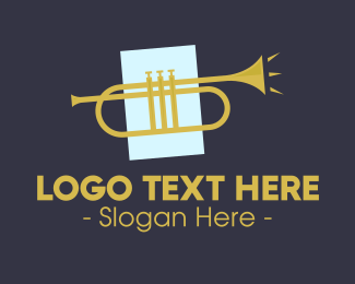 Brass Instrument - Golden Jazz Trumpet logo design