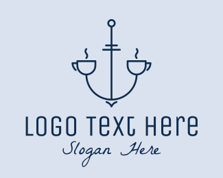 """""""Blue Nautical Cafe Outline"""" by FishDesigns61025"""