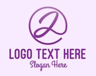 Gymnast - Purple Script Letter A logo design