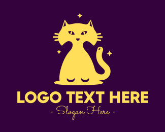 Nighttime - Yellow Midnight Cat logo design