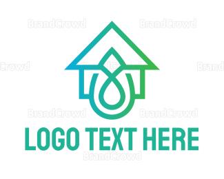 Environmental - Gradient Droplet House logo design
