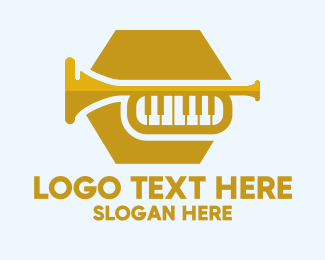 Trumpet Player - Gold Music Trumpet logo design