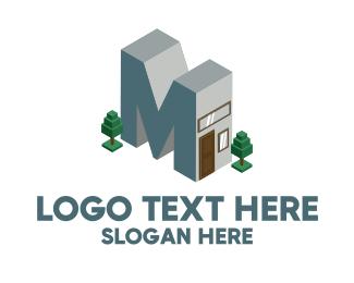 Windows - Modern Building Letter M logo design