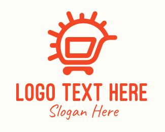 Commerce - Orange Sunny Shopping Cart logo design