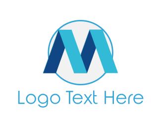 Plastic - Blue Letter M logo design
