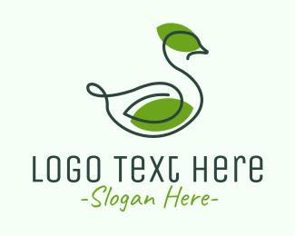 Duck - Green Leaf Duck logo design