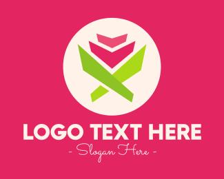 Tulip Flower - Origami Tulip Flower logo design