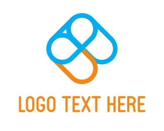 Paper Clip Blue Orange Logo