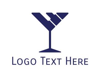 Blue Wine - Piano Bar logo design