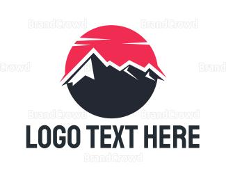 Everest - Red Sun Mountain logo design