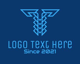 Typography - Blue Cyber Letter T logo design