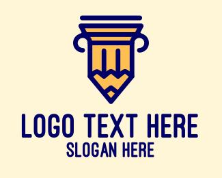 School - Pencil Pillar School logo design