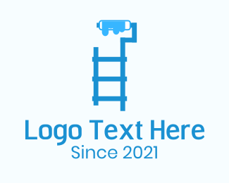 Paint - Ladder Paint Roller logo design
