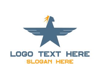Blue Hawk - Blue Eagle Star logo design