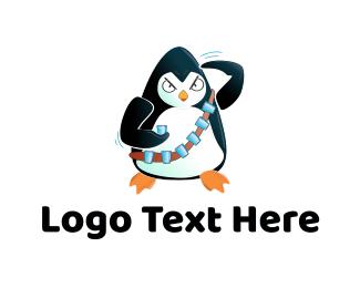 Warrior - Penguin Soldier logo design